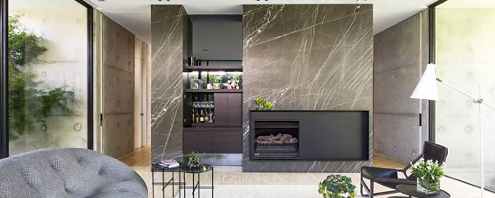 Feature walls inc. fireplace & bar in Pietra Grey Marble, residential, Toorak